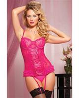 Paisley Lace Bustier with Removable Garters and Thong