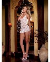 Stretch lace halter chemise with thong