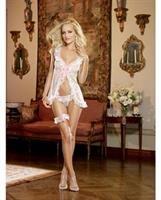 Dotted Mesh Flyaway Babydoll with Thong