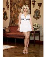 Stretch Mesh Halter Babydoll with Thong