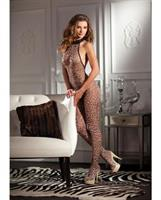 Leopard Print Halter Neck Crotchless Bodystocking