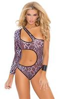 Bodysuit Teddy With One Sleeve and Cut-out Side