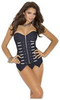 Denim Military Style Corset With Matching G-string.