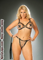 2 piece set- Chain bra with leather trim and matching thong