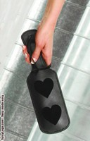 Leather paddle with hearts