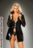 Vinyl long sleeve jacket with buckle front and mesh sleeves