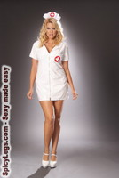 Vinyl nurse dress with zipper front and matching hat