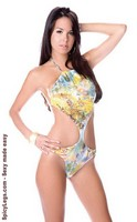 Halter monokini teddy & drawstring around neck