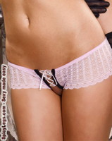 Lace Up Crotchless Hipster Panties