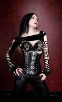 Hard Black Leather Corset with Latched Closing