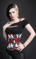 Skull with Red Roses Corset