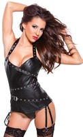 Faux Leather Halter Corset