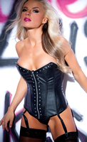 Faux Leather Zip and Rivet Corset