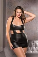 Plus Size Wet Look Mini Dress