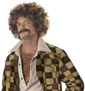 Disco Dirt Bag Wig and Moustache Adult