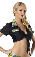 Black Tie Top With Yellow Plaid Trim