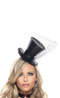 Black Pin-on Sparkle Top Hat