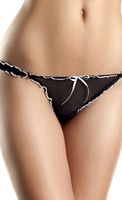 Low-rise ruffled mesh thong with thin satin bows in front and back