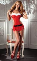 2-Piece Red mesh apron dress