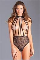 1PC crotchless black lace teddy with halter straps