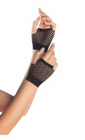 Wrist Length Fingerless Fishnet Gloves