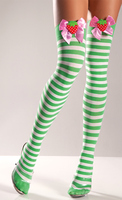 Green And White Striped Thigh High With Strawberry On Bow