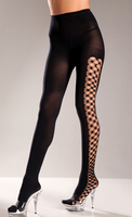 Opaque Spandex Pantyhose With Multi Fence Net On Sides