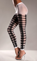 Black Lattice Work Pattern On White Nylon Footless Pantyhose
