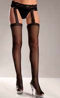 Nylon Striped Thigh High With Lace Top