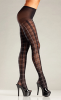 Plaid Pantyhose with White Accent