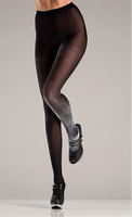 Opaque black and silver lurex tights