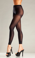 Opaque Black Footless Tights with Lace Trim