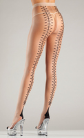 Faux lace-up back cuban heel tights