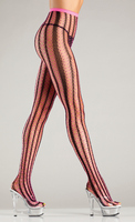 Contrast color vertical stripe net tights