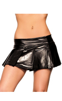 Black Vinyl School Girl Skirt