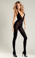 Black Opaque Halter Top, Crotchless Body Stocking