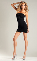 Opaque Tube Dress With Buckle And Bow