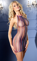 Striped halter fishnet minidress