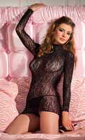 Lace turtleneck long sleeve minidress