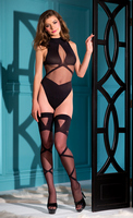 2 piece woven teddy with front straps and matching strap design thigh high.