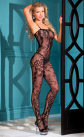 1 piece lace bodystocking with floral design, open crotch and thin shoulder straps.