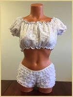 White Lined Lace Short Sleeve Peasant Top
