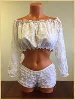 White Lined Lace Long Sleeve Peasant Top