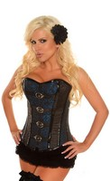 Blue Buckled Brocade Steel Boned Corset