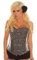 Gunmetal Buckled Brocade Steel Boned Corset