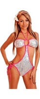 Silver Sequin Pucker Back Monokini
