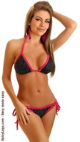 Black Foil Dot Pucker Back Bikini
