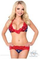 Navy Stars with Red Lace Trim Pucker Back Bikini