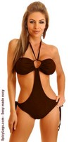 Brown Suede Pucker Back Monokini