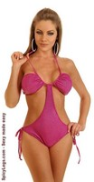 Pink Foil Dot Pucker Back Monokini
